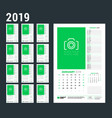 wall calendar planner template for 2019 year week vector image vector image
