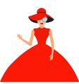 Woman in red elegant hat and big dress sunglasses vector image vector image