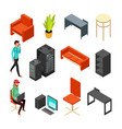 set of office isometric icons computers server vector image