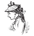 a woman wearing a straw hat vintage engraving vector image vector image