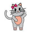 adorable female cat animal with hand up vector image vector image