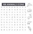 animals editable line icons 100 set vector image