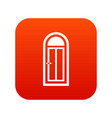 arched wooden door with glass icon digital red vector image vector image