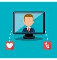 avatar man and computer monitor vector image vector image