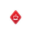 big hot cup cafe warm caffee logo design vector image vector image