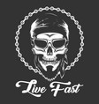 Biker skull in glasses with wording live fast