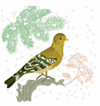 Bird and snow Christmas motive vector image vector image