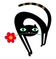 Black cat with flower vector image