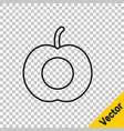 black line peach fruit or nectarine with leaf icon vector image vector image