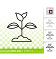 branch leaves simple black line icon vector image vector image