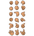 cartoon white hand gesture icon set vector image