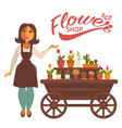 cheerful woman near wagon with flowers vector image vector image