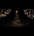 christmas tree firework black background gold vector image vector image