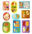 collection of school lunch trays of different vector image