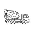concrete mixer truck black and white vector image vector image