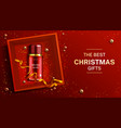 cosmetics bottle christmas banner beauty product vector image vector image
