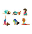 cute kids performing yoga exercises set physical vector image vector image