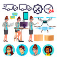 delivery service icons drone cardboard vector image
