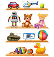 different toys on wooden shelves vector image vector image