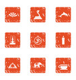 diversity of east icons set grunge style vector image vector image