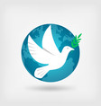 dove with olive branch and globe vector image vector image