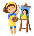 female painter painting on canvas vector image
