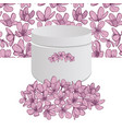 flowers bouquet white box with pink blossoms vector image vector image