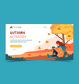 girl reading in park in autumn landing page vector image vector image