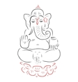 Golden Ganapati Meditation in lotus pose vector image vector image