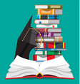 graduation cap and stack books vector image vector image