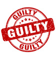 guilty red grunge round vintage rubber stamp vector image vector image