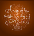 handwritten lettering of a cup of tea vector image