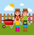 happy gardener couple with wheelbarrow potted vector image