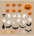 happy halloween set characters in cartoon vector image