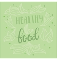 Healthy food poster design with hand vector image