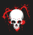 human skull in blood splashes vector image vector image