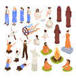 isometric religion icons collection vector image