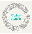 Kitchen Utensils Line Art Icons Set Circle vector image vector image