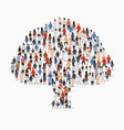 large group people in form tree vector image vector image