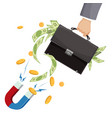 leather suitcase full money and powerful magnet vector image vector image