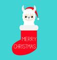 merry christmas llama alpaca baby face in red vector image vector image