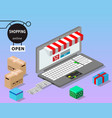 modern isometric design the concept of online vector image vector image