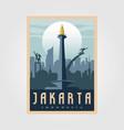 monument national jakarta vintage poster symbol vector image vector image