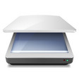 opened office scanner on white background vector image