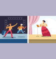 opera and rock concert singers and musicians vector image vector image
