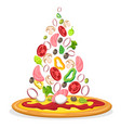 pizza with falling ingredients poster vector image vector image