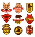 Pork meat butcher shop labels vector image vector image