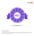 recording icon - purple ribbon banner vector image