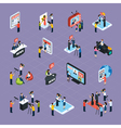 Reporters Isometric Icons Set vector image vector image