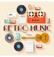 Retro equipment music set circle infographics vector image vector image